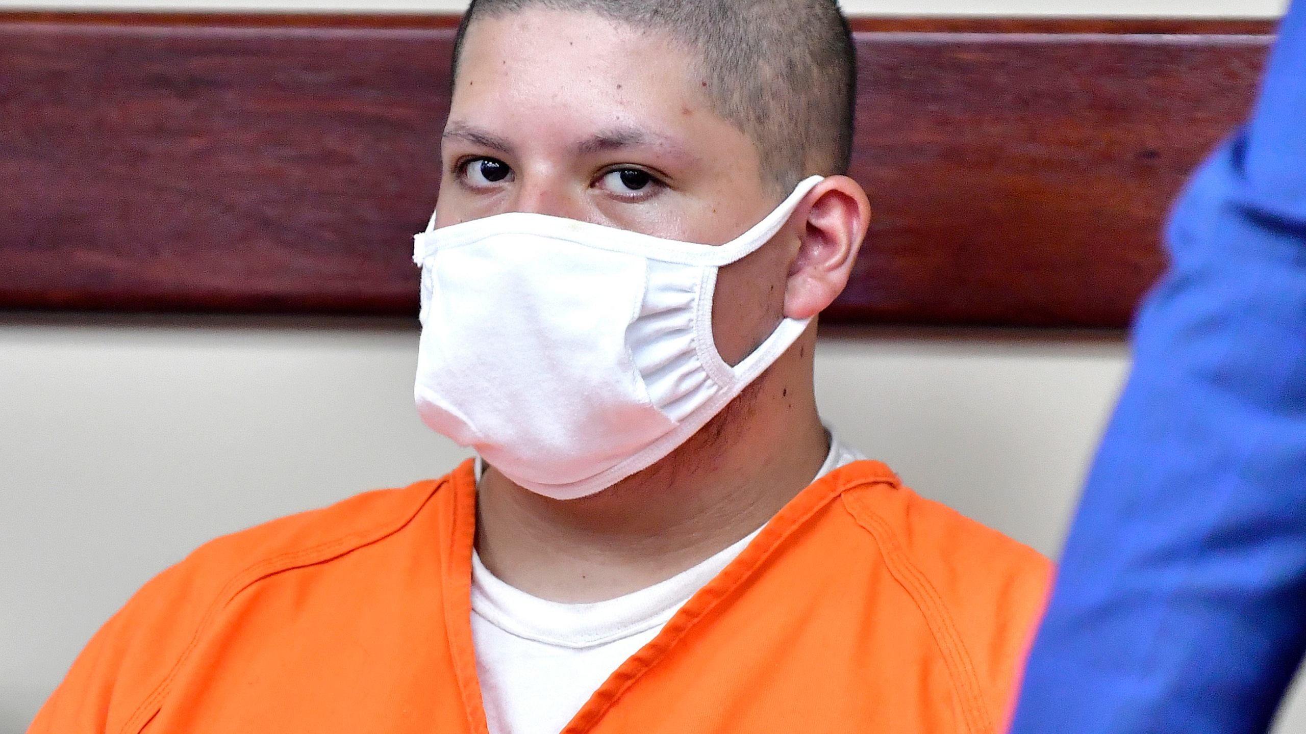 Joseph Jimenez, 20, left, appears in the Riverside Hall of Justice on July 30, 2021, in Riverside, Calif. (Will Lester/The Orange County Register via AP, File)