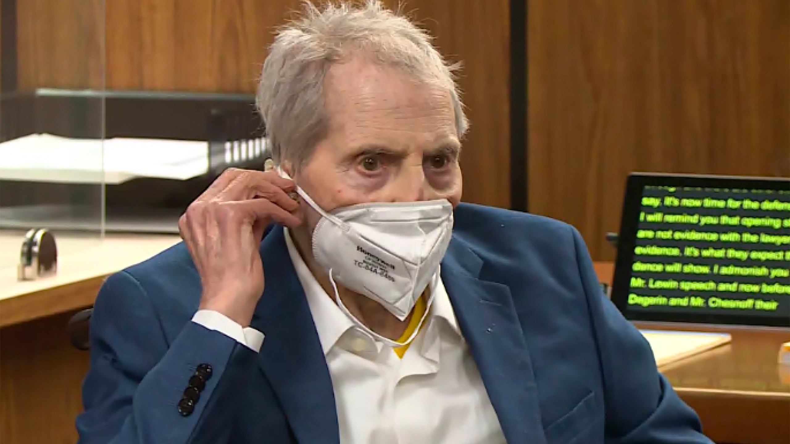 In this still image taken Wednesday, May 19, 2021, from the Law & Crime Network court video, real estate heir Robert Durst watches as his defense attorney Dick DeGuerin presents a new round of opening statements in the murder case against Durst in Los Angeles County Superior Court in Inglewood, Calif. Durst is expected to take the stand at his Los Angeles County murder trial on Thursday, Aug. 5. (Law & Crime Network via AP, Pool, File)