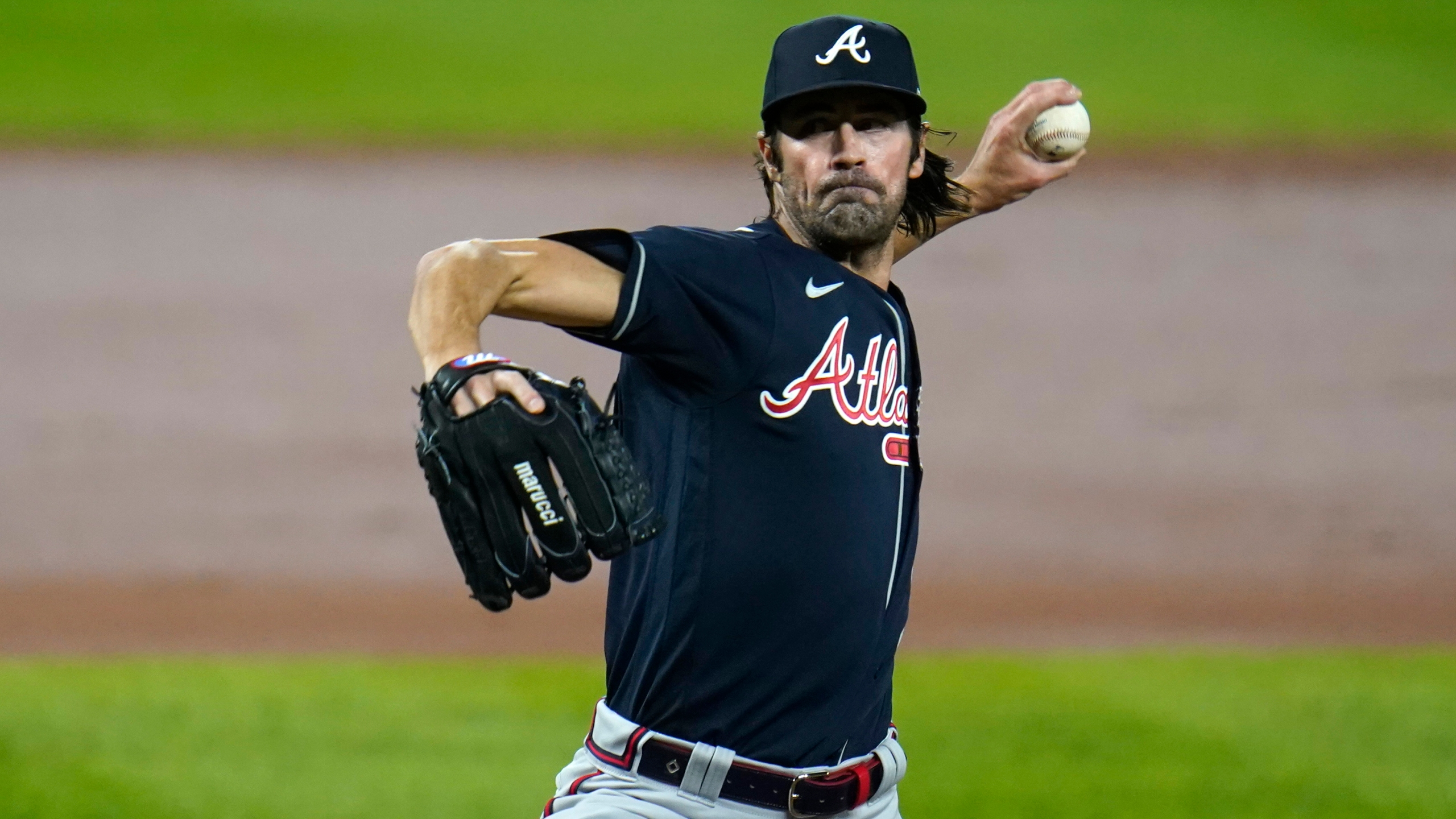 In this Sept. 16, 2020 file photo, Atlanta Braves starting pitcher Cole Hamels throws a pitch to the Baltimore Orioles during the second inning of a game in Baltimore. (Julio Cortez/Associated Press)