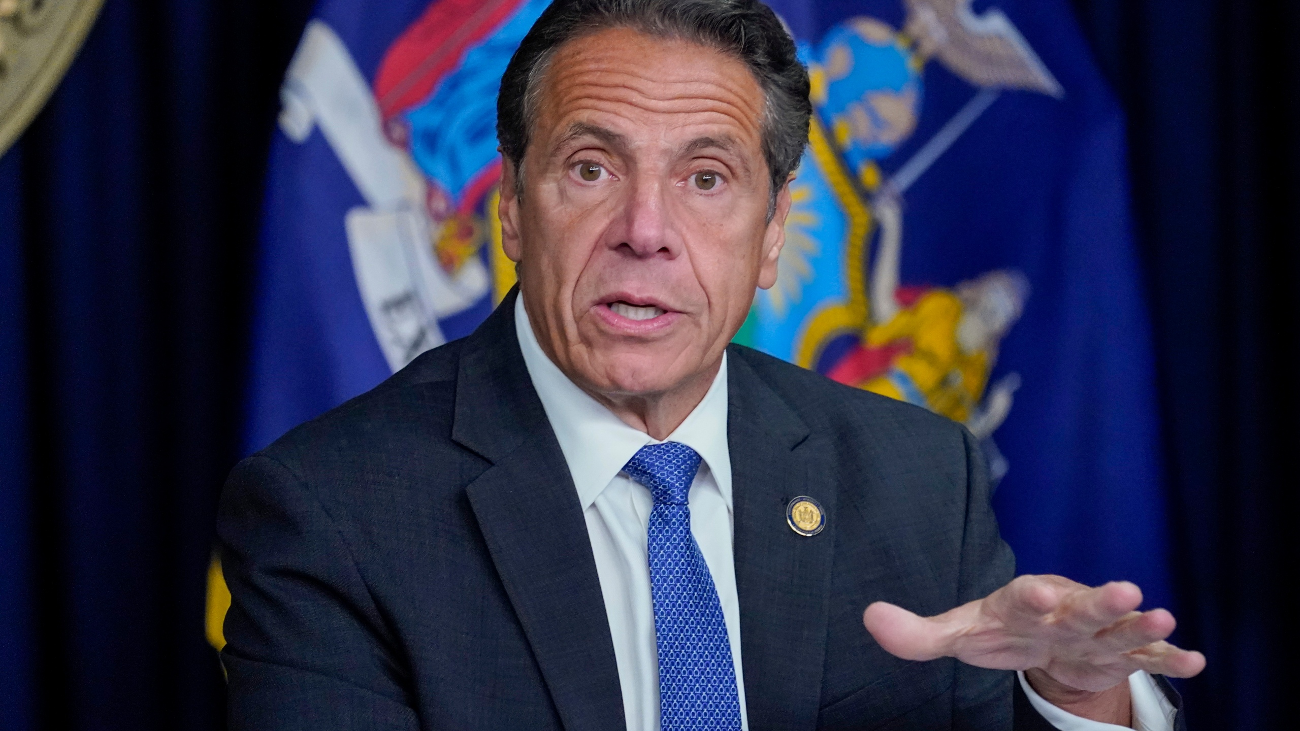 New York Gov. Andrew Cuomo speaks during a news conference in New York on June 23, 2021. (Mary Altaffer / Associated Press)