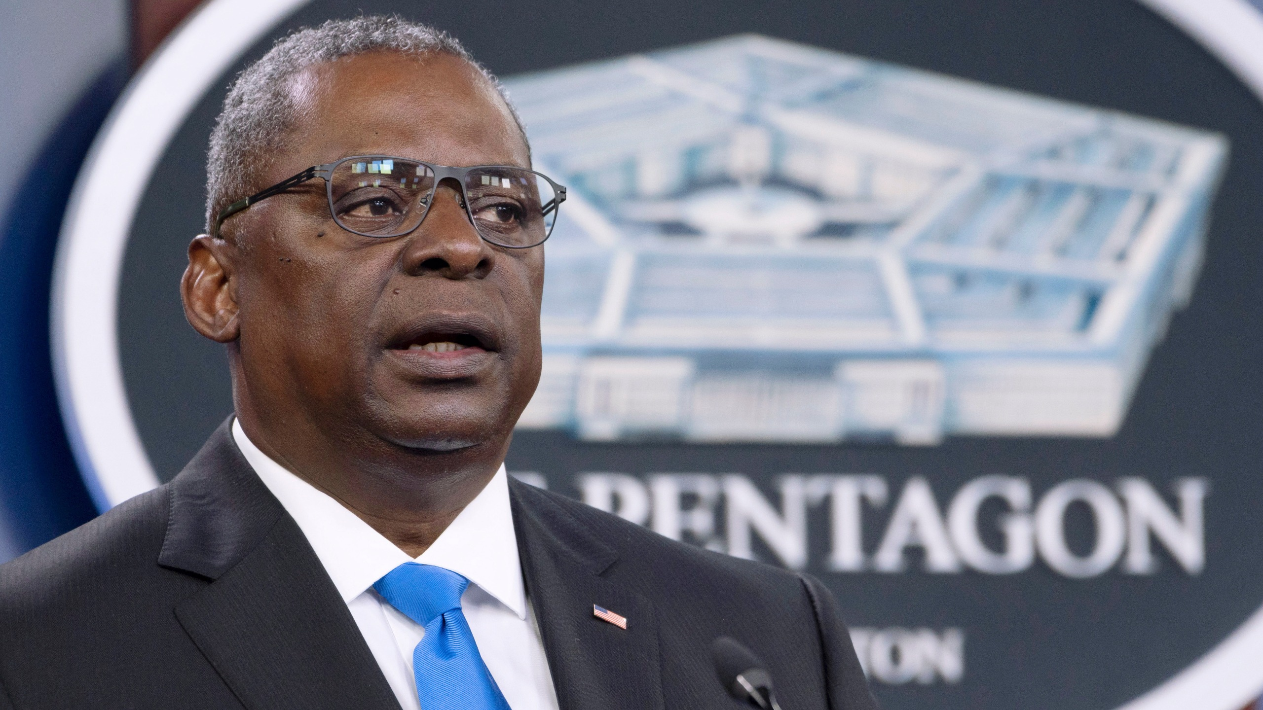 In this July 21, 2021 file photo, Defense Secretary Lloyd Austin speaks at a press briefing at the Pentagon in Washington. Austin has said he is working expeditiously to make the COVID-19 vaccine mandatory for military personnel and is expected to ask Biden to waive a federal law that requires individuals be given a choice if the vaccine is not fully licensed. (AP Photo/Kevin Wolf, File)
