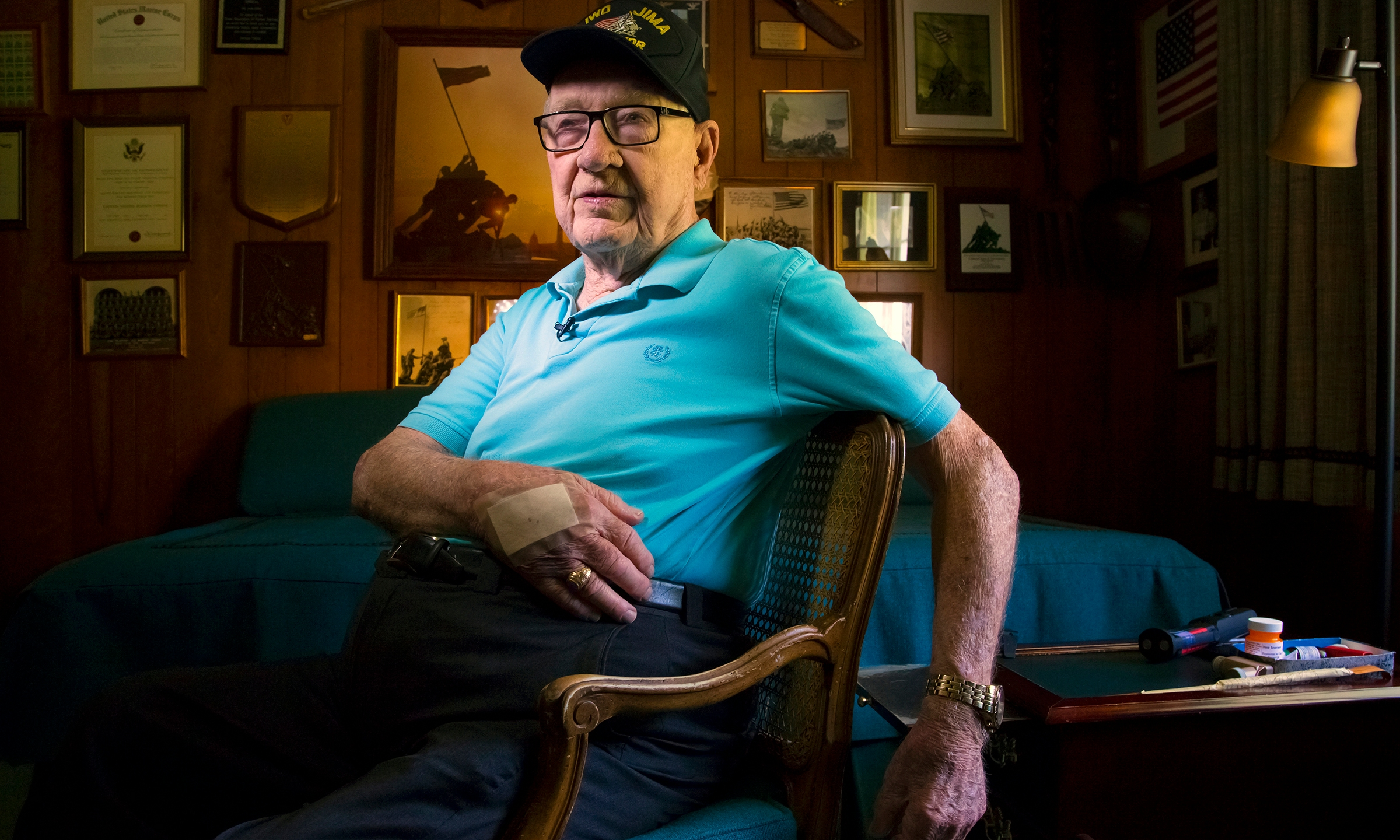 Dave Severance, a retired U.S. Marine colonel whose troops were the first to plant an American flag over the Japanese island of Iwo Jima during World War II, is seen at his home in San Diego on May 20, 2015. (San Diego Union-Tribune via Associated Press)