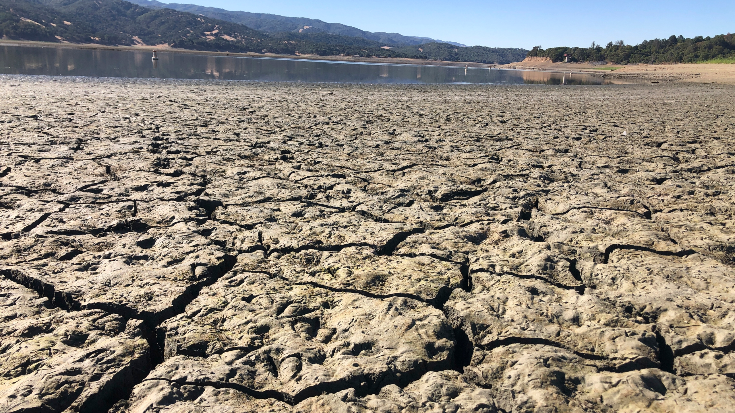 An exposed dry bed is seen at Lake Mendocino near Ukiah, Calif. on Aug. 4, 2021. (AP Photo/Haven Daley)