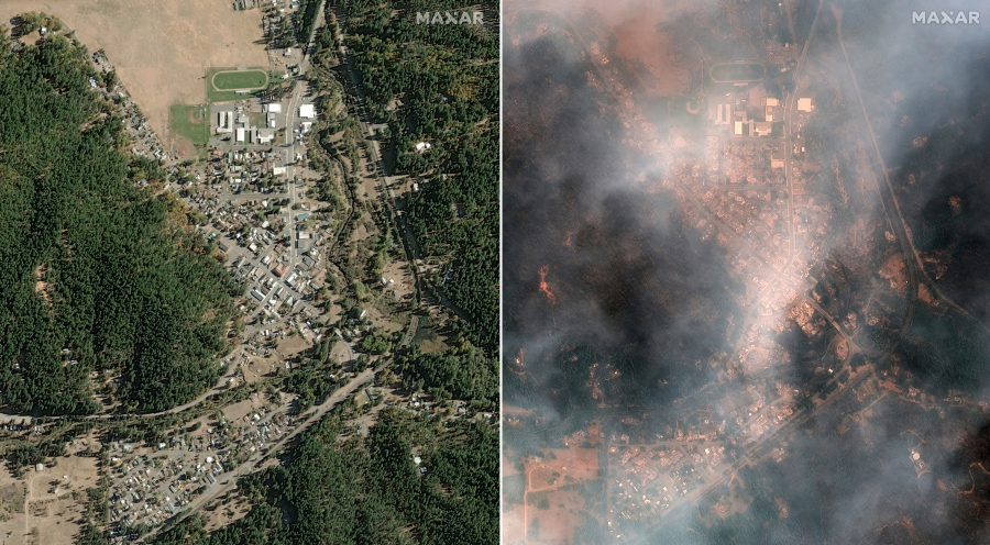 This satellite image provided by Maxar Technologies shows, from left, an overview of Greenville, Calif., before the wildfires on Oct. 31, 2018, and overview of Greenville during the Dixie Wildfires on Aug. 9, 2021. (©2021 Maxar Technologies via Associated Press)