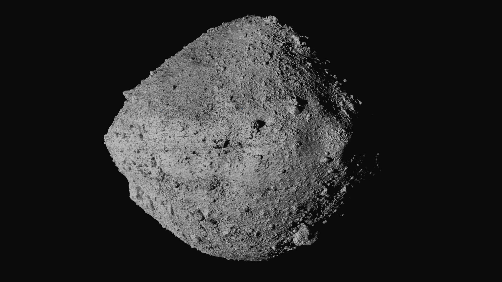 This undated image made available by NASA shows the asteroid Bennu from the OSIRIS-REx spacecraft. (NASA/Goddard/University of Arizona/CSA/York/MDA via Associated Press)
