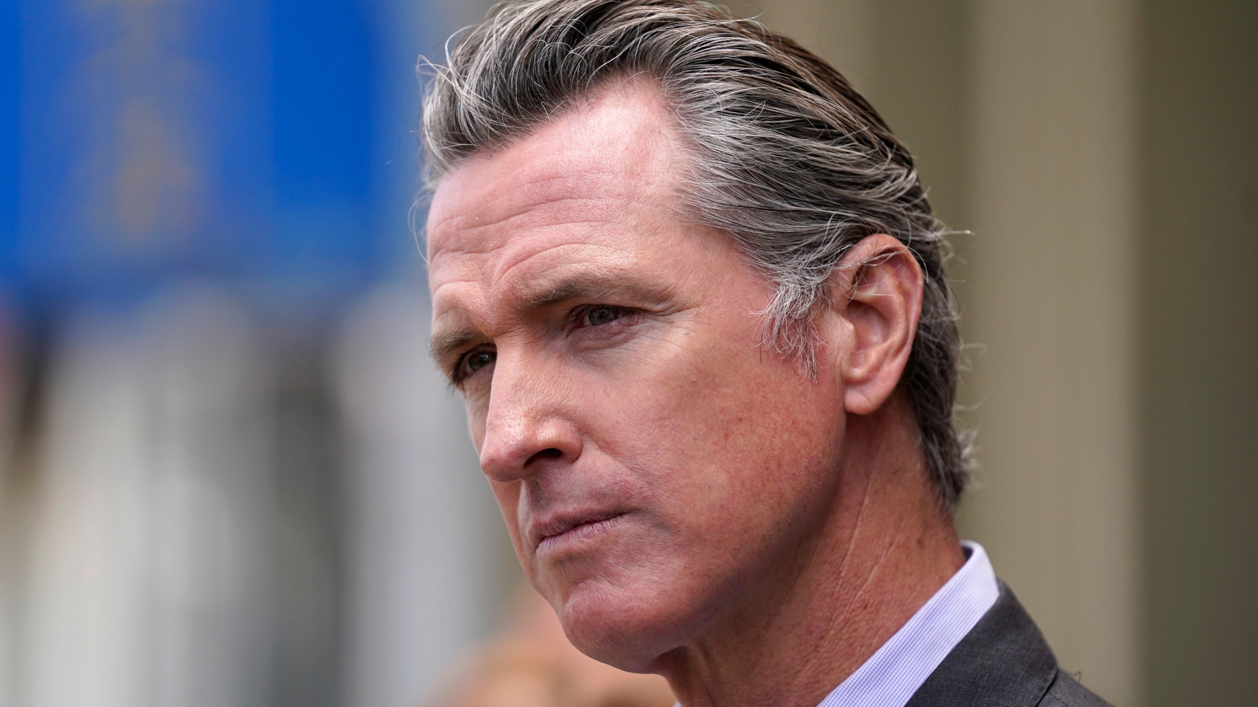 In this June 3, 2021 file photo, California Gov. Gavin Newsom listens to questions during a news conference in San Francisco (AP Photo/Eric Risberg, File)