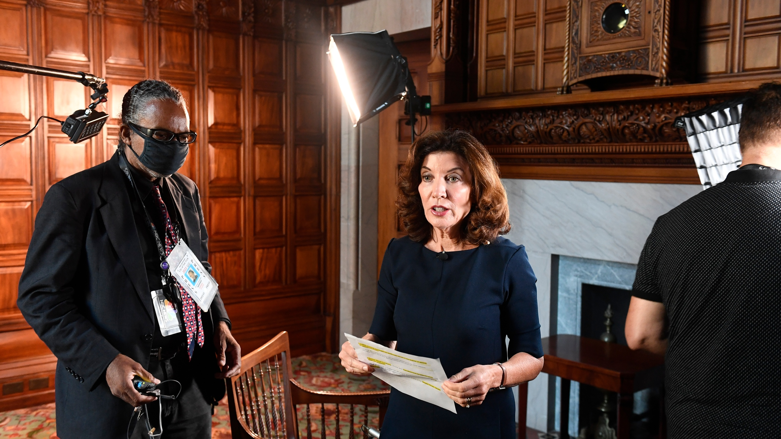 New York Lt. Governor Kathy Hochul speaks with a news crew before taking part in a remote interview from her office at the state Capitol on Aug. 12, 2021. (Hans Pennink/Associated Press)