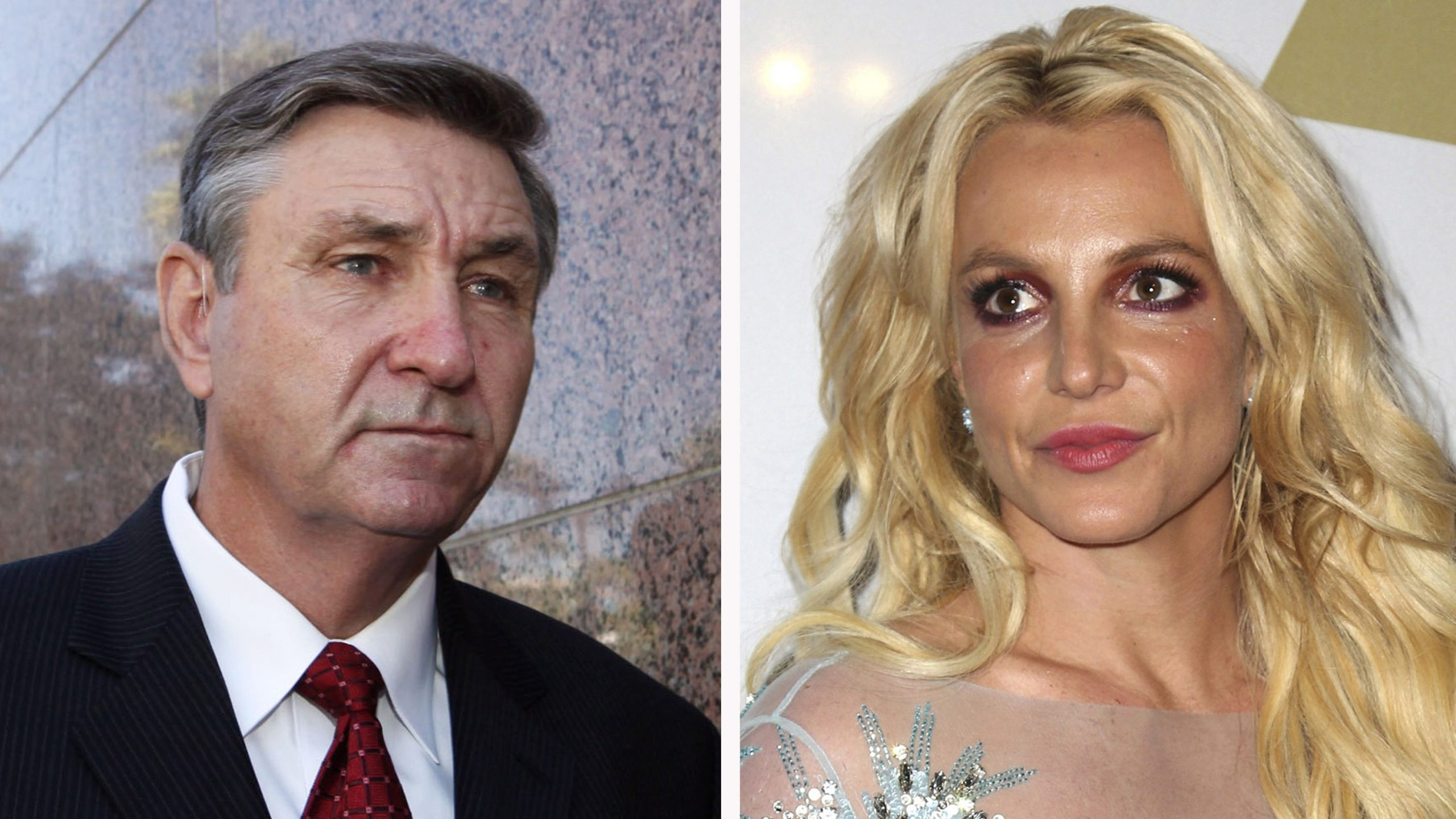 This combination photo shows Jamie Spears, left, father of Britney Spears, as he leaves the Stanley Mosk Courthouse on Oct. 24, 2012, in Los Angeles, and Britney Spears at the Clive Davis and The Recording Academy Pre-Grammy Gala on Feb. 11, 2017, in Beverly Hills. (Associated Press)