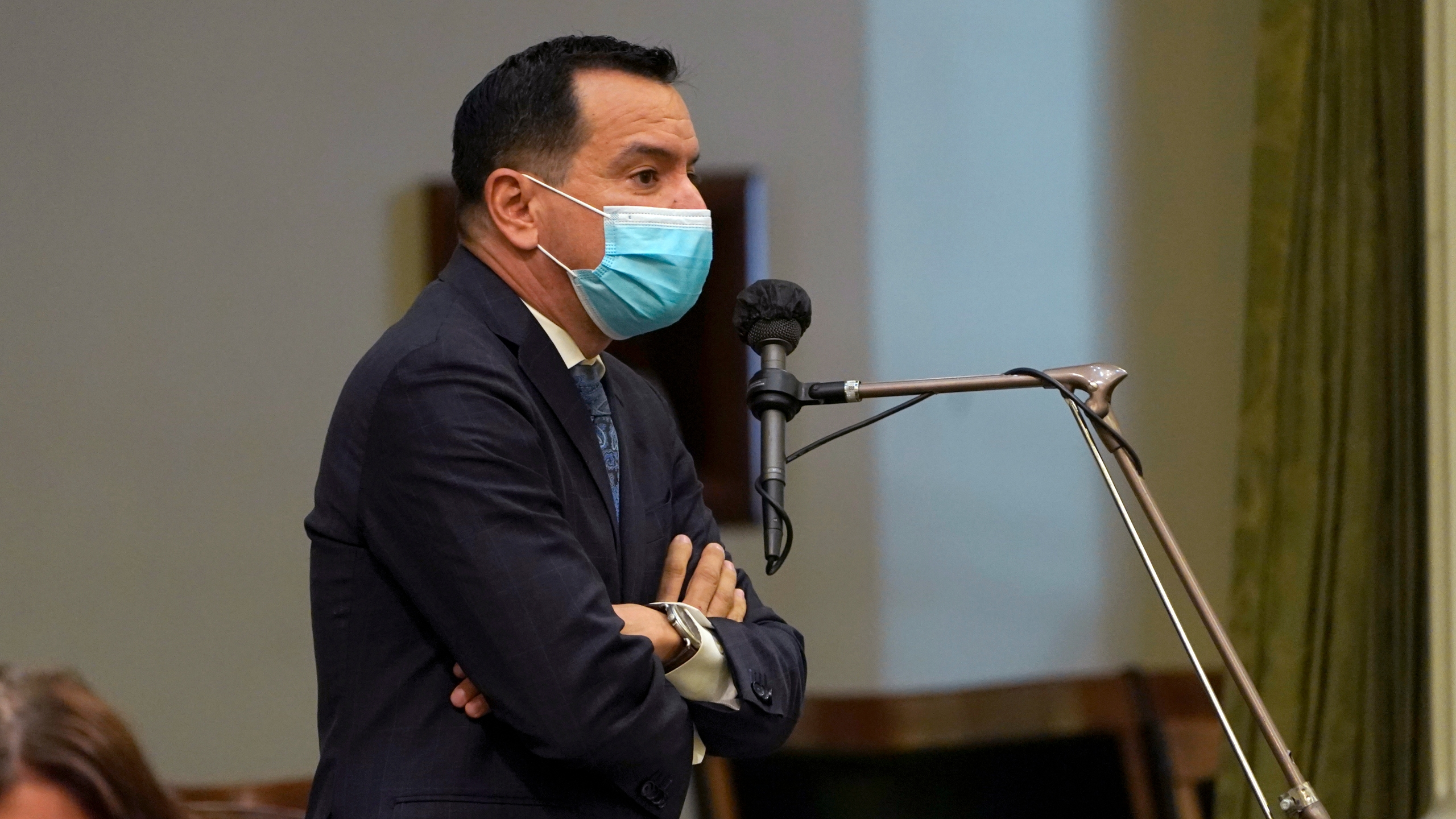 In this July 15, 2021, file photo, Assembly Speaker Anthony Rendon, D-Lakewood, wears a face mask as he addresses the Assembly in Sacramento. (Rich Pedroncelli/Associated Press)