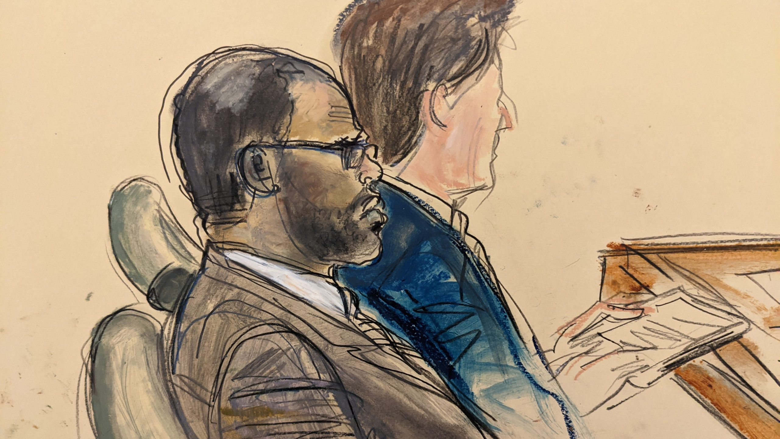 In this courtroom artist's sketch made from a video screen monitor of a Brooklyn courtroom, defendant R. Kelly, left, listens during the opening day of his trial on Aug. 18, 2021, in New York. (Elizabeth Williams / Associated Press)