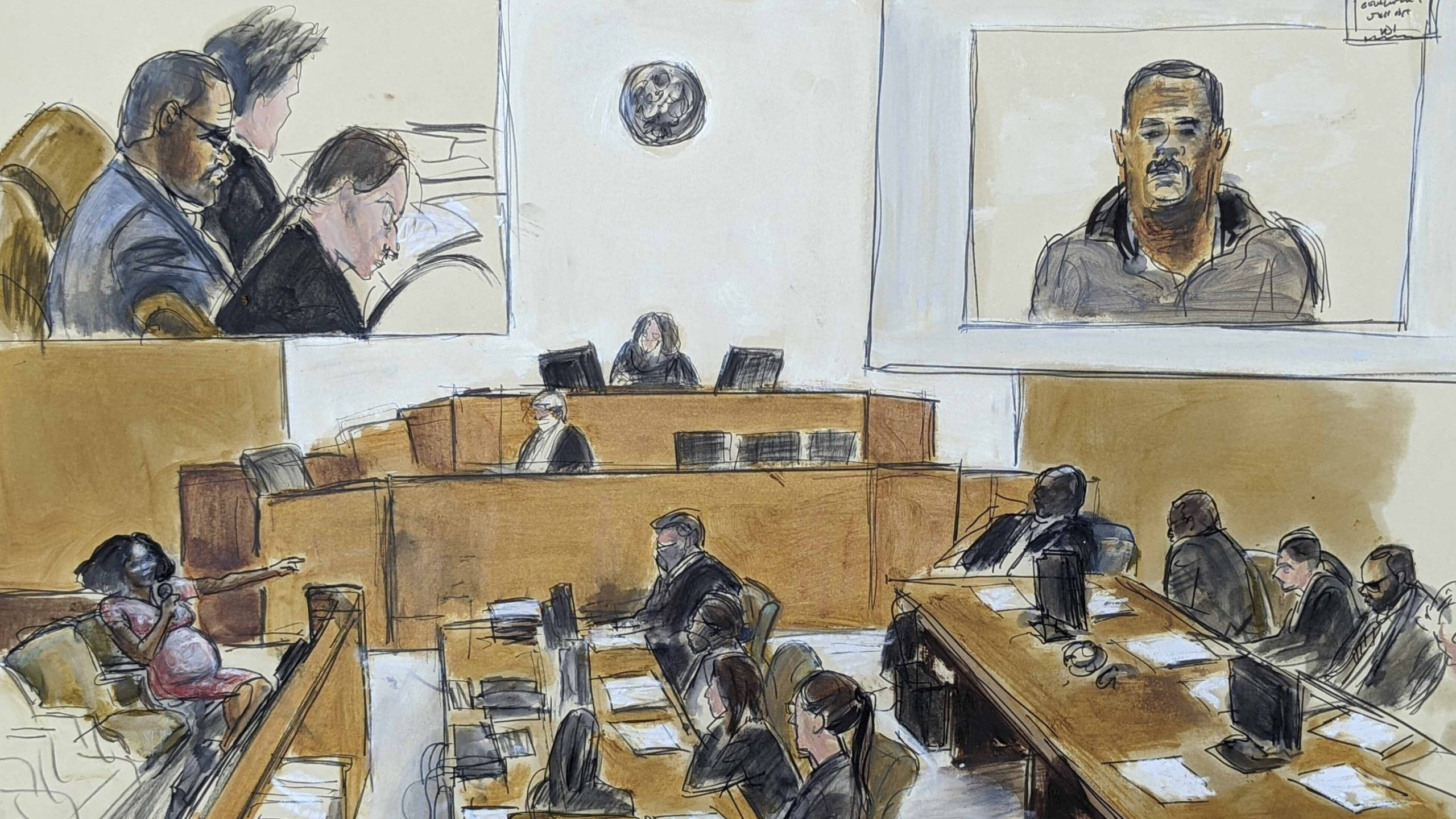 In this courtroom artist's sketch made from a video screen monitor of a Brooklyn courtroom, defendant R. Kelly, top left, listens as Jerhonda Pace, far left, testifies against the R&B star during the singer's sex abuse trial in New York on Aug. 18, 2021. (Elizabeth Williams via Associated Press)