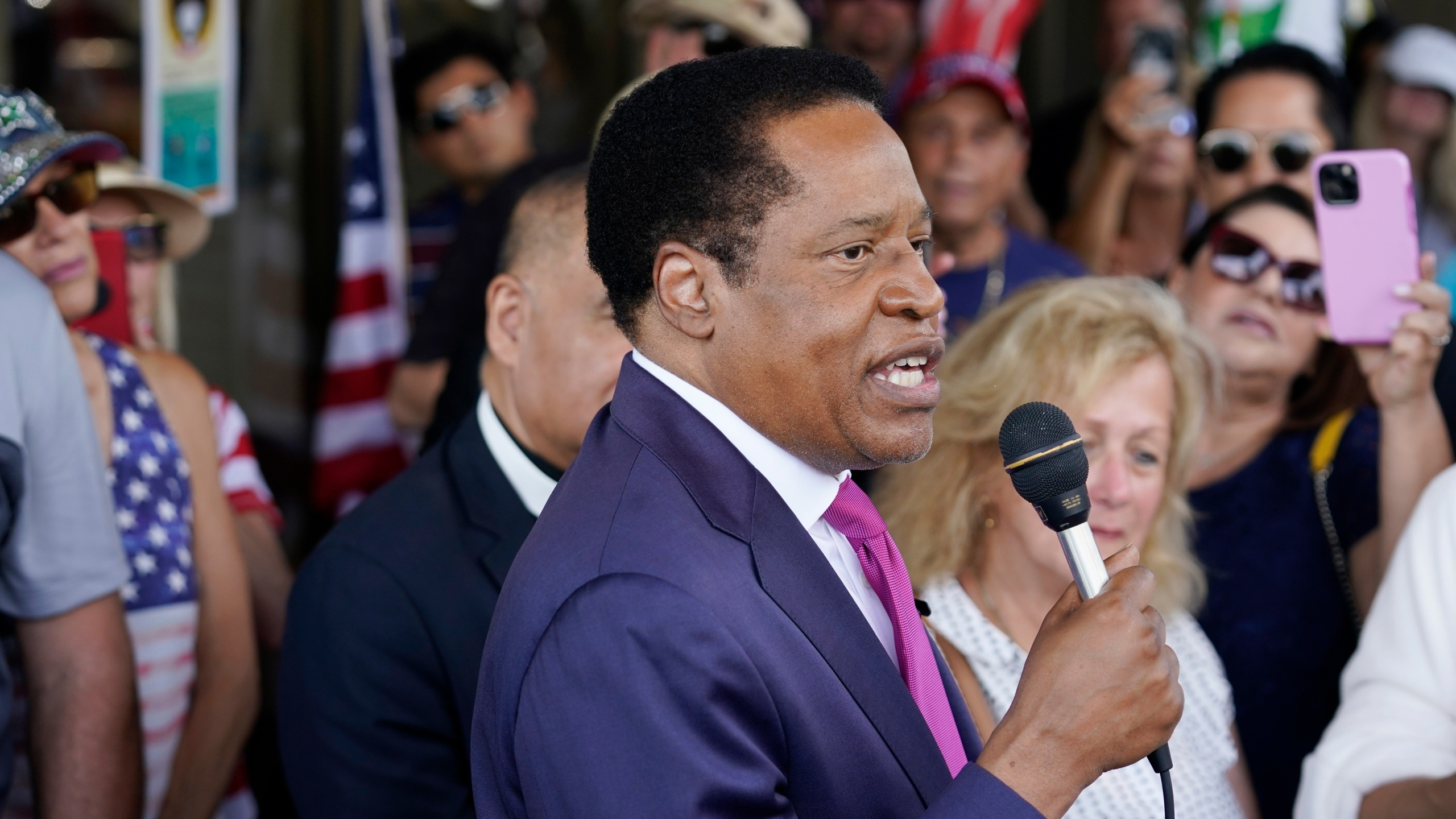 In this July 13, 2021, file photo, conservative radio talk show host Larry Elder speaks to supporters during a campaign stop in Norwalk, Calif. (AP Photo/Marcio Jose Sanchez, File)