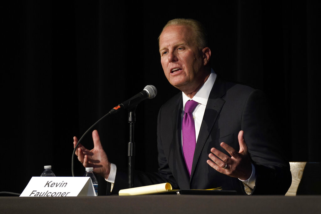 Republican gubernatorial recall candidate, former San Diego Mayor Kevin Faulconer, responds to a question during a debate held by the Sacramento Press Club in Sacramento, Calif., Tuesday, Aug. 17, 2021. (AP Photo/Rich Pedroncelli)