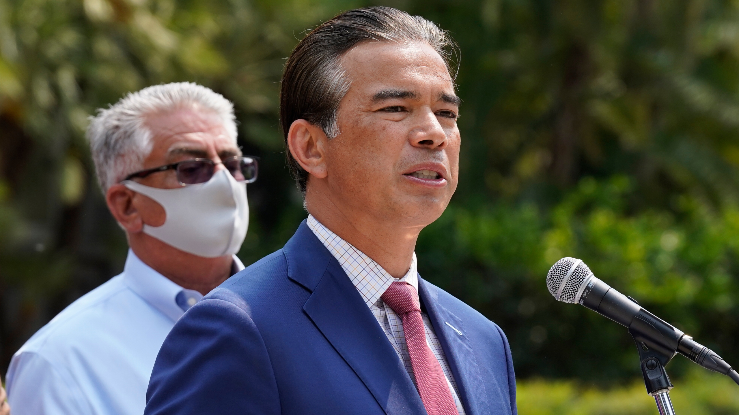 California Attorney General Rob Bonta speaks at a news conference in Sacramento, Calif., on Aug. 17, 2021. (AP Photo/Rich Pedroncelli)