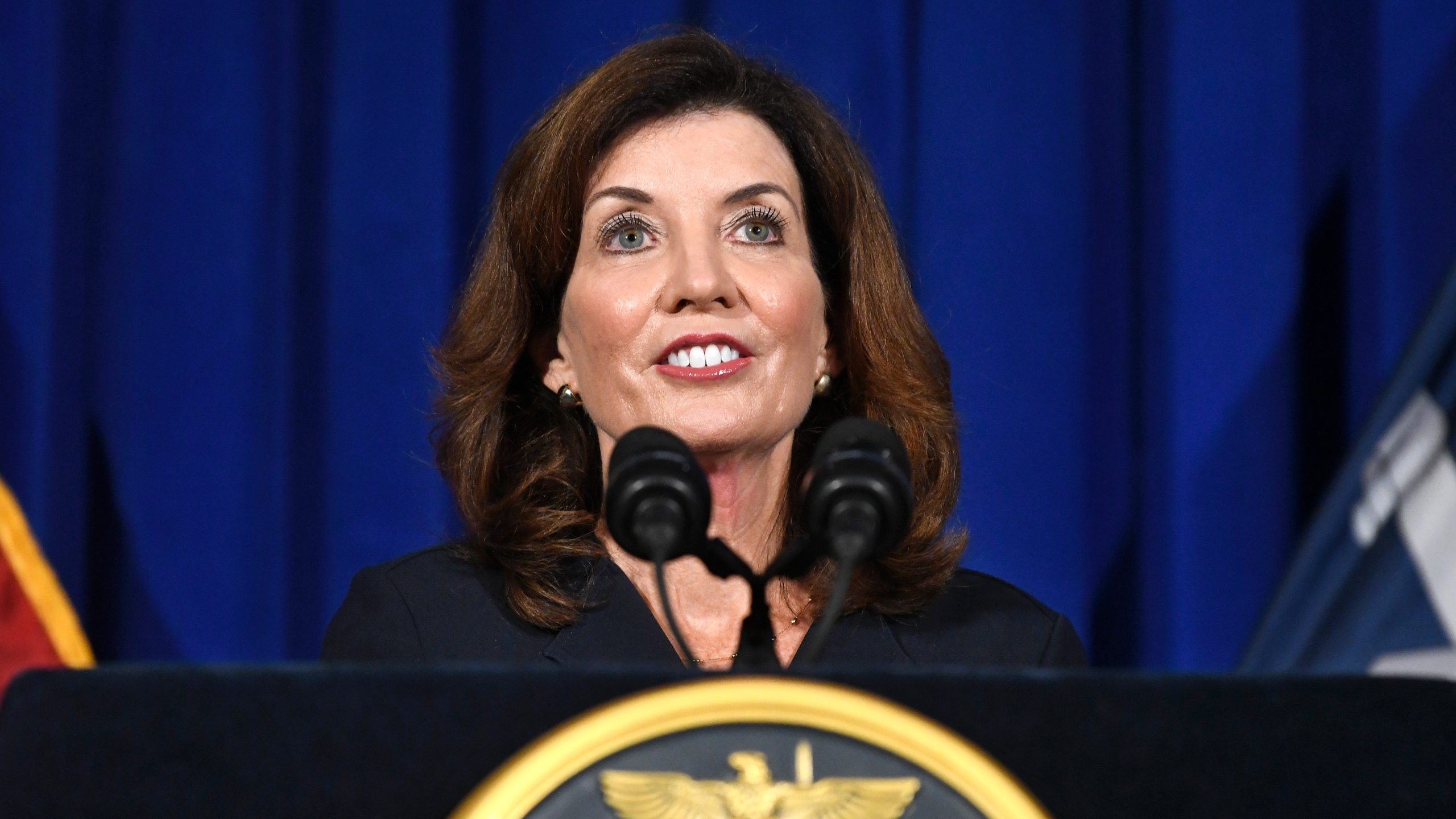 New York Lt. Gov. Kathy Hochul gives a news conference at the state Capitol on Wednesday, Aug. 11, 2021, in Albany, N.Y. Taking over on short notice for a scandal-plagued predecessor in the midst of the coronavirus pandemic, Hochul began her tenure as New York governor Tuesday, Aug. 24 with more than enough challenges for a new administration. She also began with a historic opportunity: Hochul is the first woman to hold one of the most prominent governorships in the U.S. (AP Photo/Hans Pennink, File)