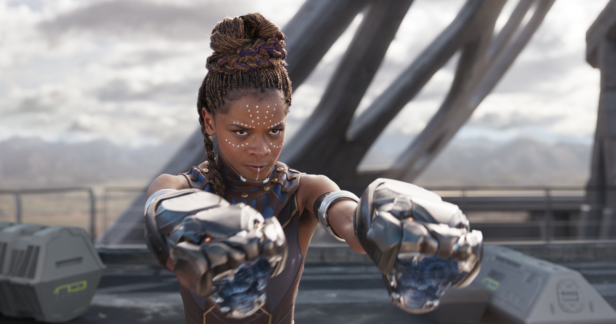 """This image released by Marvel Studios shows Letitia Wright in a scene from """"Black Panther."""" Wright is being treated in a hospital after sustaining minor injuries on the Boston set of """"Wakanda Forever."""" (Matt Kennedy/Disney/Marvel Studios via Associated Press)"""