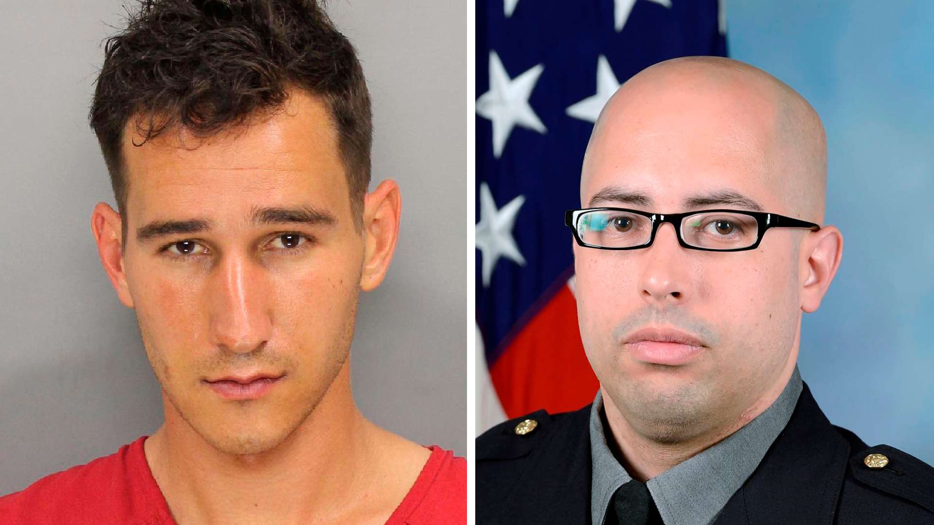 This April 2021 image provided by the Cobb County Sheriff's Office shows a booking photo of Austin Williams Lanz. On the right, an undated photo provided by the Pentagon Force Protection Agency shows Pentagon Police Officer George Gonzalez.