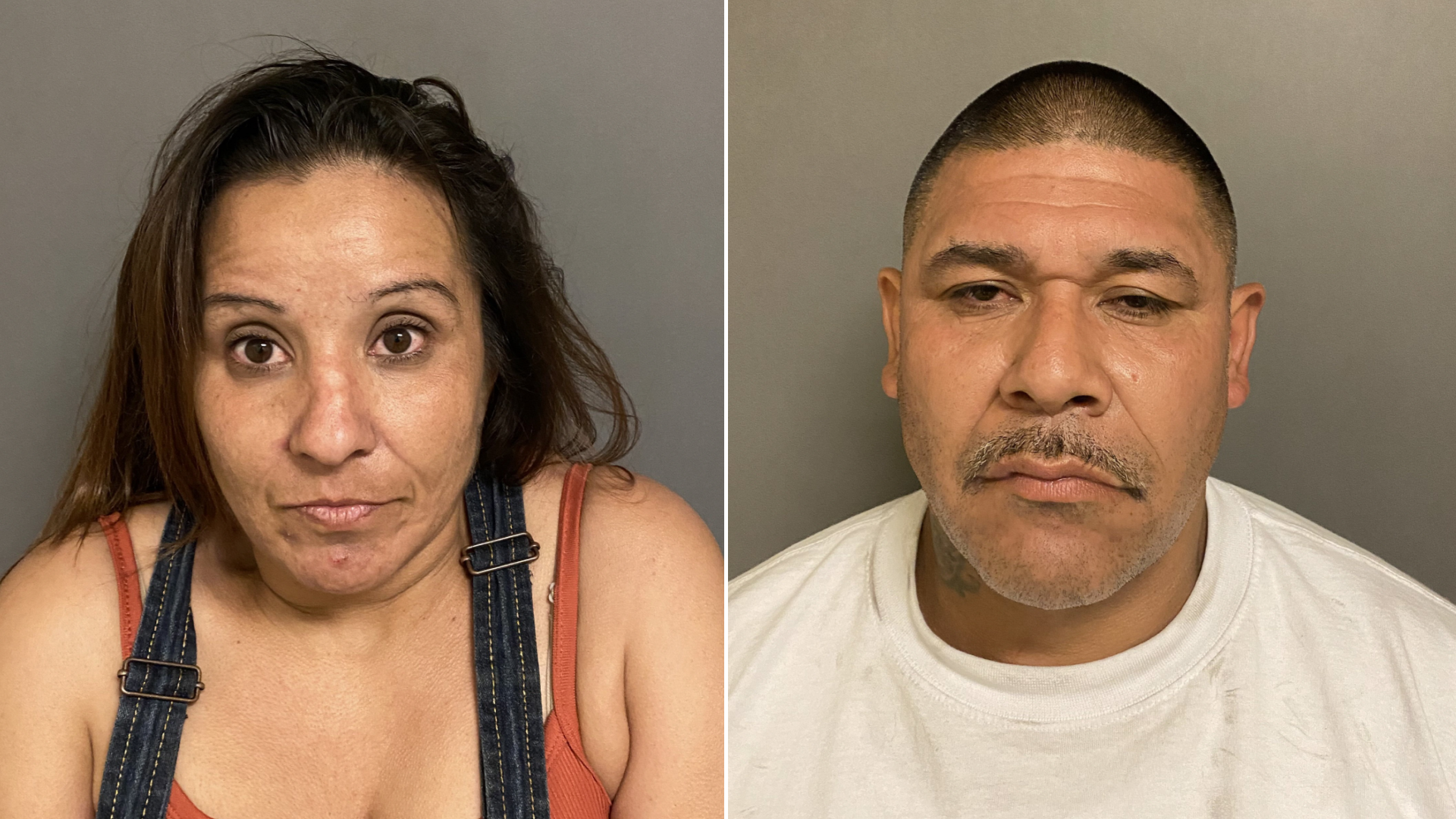 Gilbert Garcia of Pomona and Lisa Hafley of Redlands are seen in booking photos provided by the Irvine Police Department on Aug. 13, 2021.