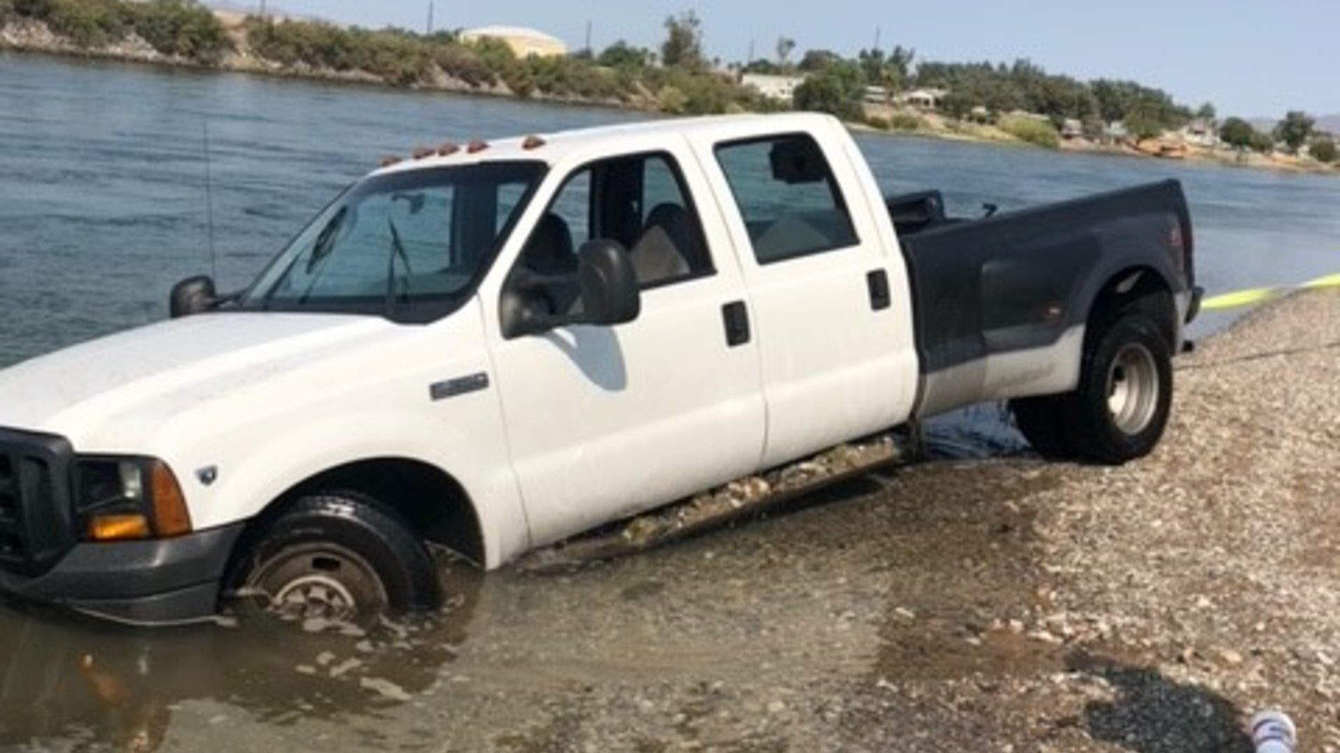 A man was arrested after driving his car into the Colorado River after fleeing from deputies during a traffic stop in Needles on Aug. 16, 2021. (San Bernardino County Sheriff's Department)