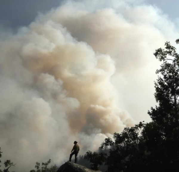 A firefighter is dwarfed by the plume of the Dixie fire in Northern California, which was at more than 725,000 acres and 40% containment as of Aug. 23, 2021. (Luis Sinco / Los Angeles Times)