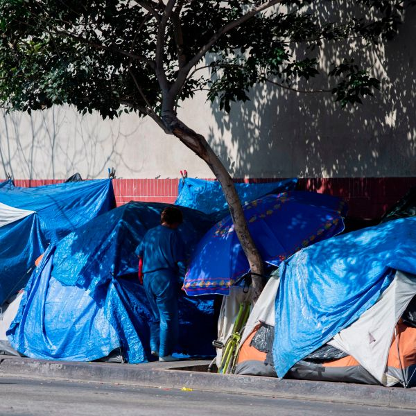 Tents line the street in Skid Row in Los Angeles, California on Sept. 17, 2019. (ROBYN BECK/AFP via Getty Images)