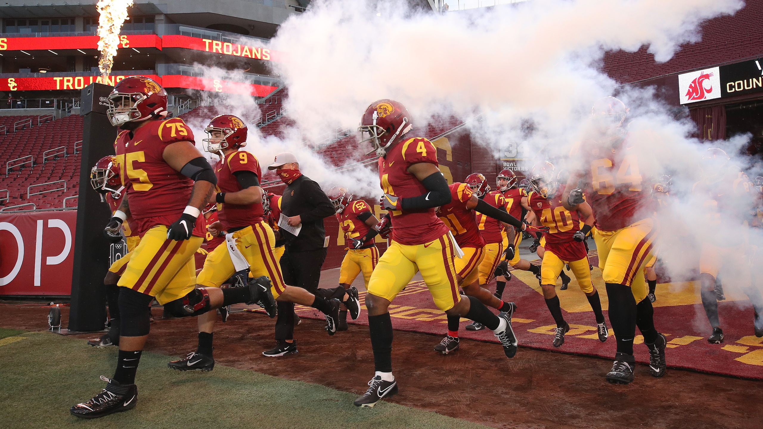 The USC Trojans take the field prior to the first half of a game against the Washington State Cougars at Los Angeles Coliseum on December 06, 2020 in Los Angeles. (Sean M. Haffey/Getty Images)