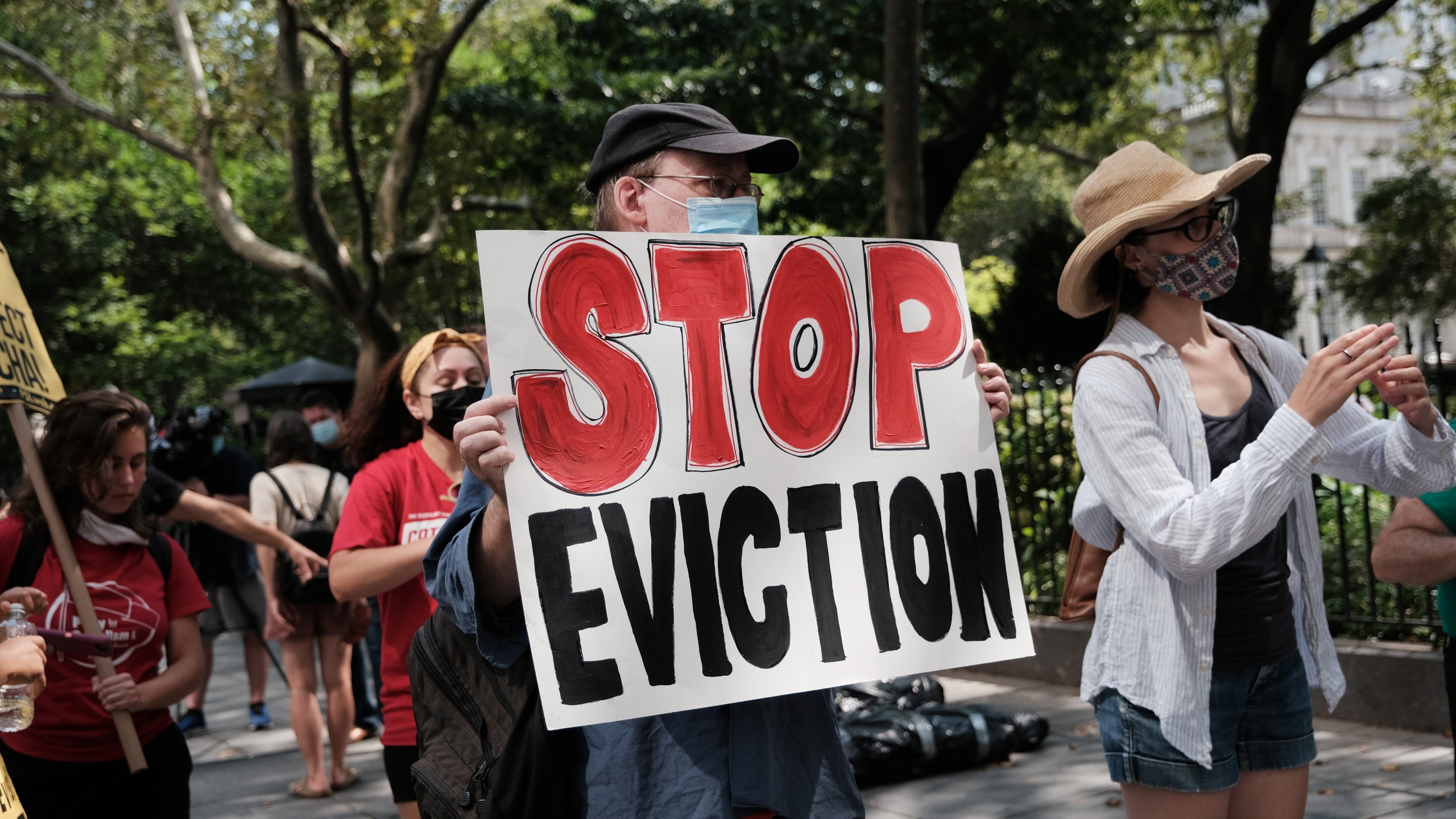 Activists hold a protest against evictions near City Hall on Aug. 11, 2021 in New York City. (Spencer Platt/Getty Images)