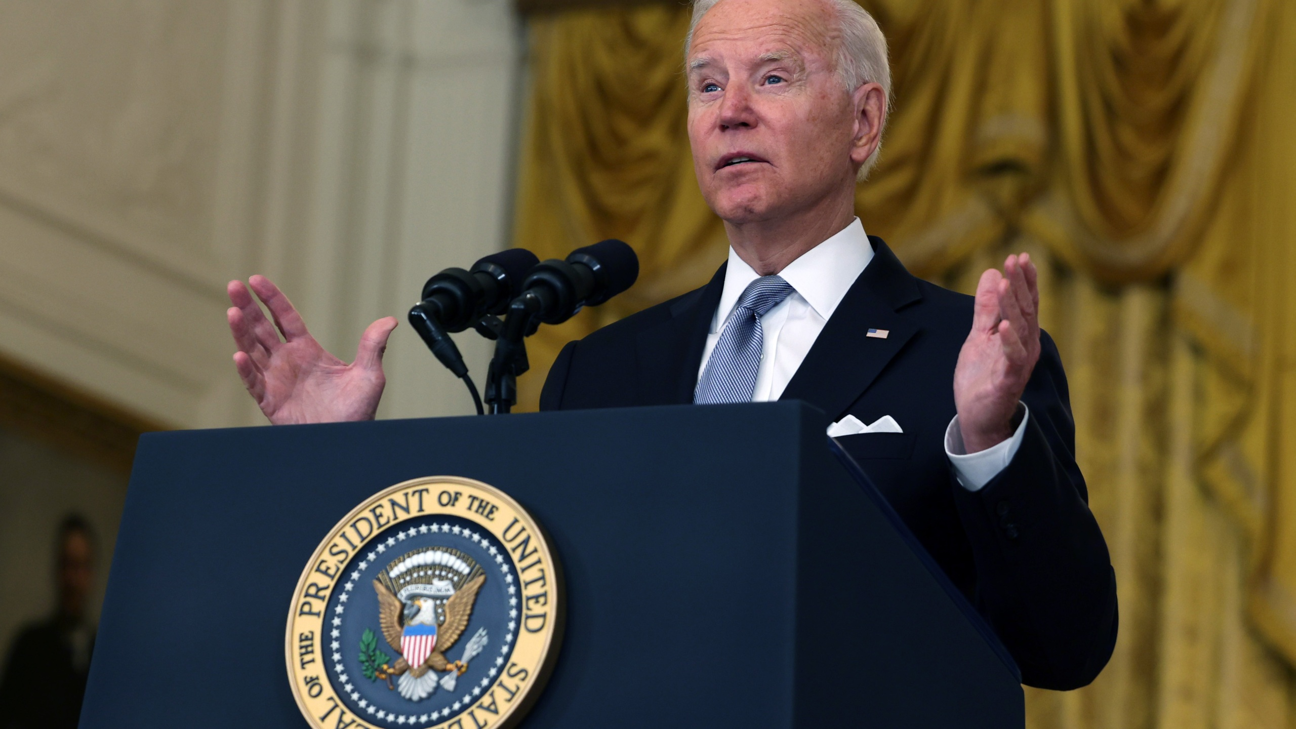 President Joe Biden delivers remarks on the worsening crisis in Afghanistan from the East Room of the White House Aug. 16, 2021. (Anna Moneymaker/Getty Images)