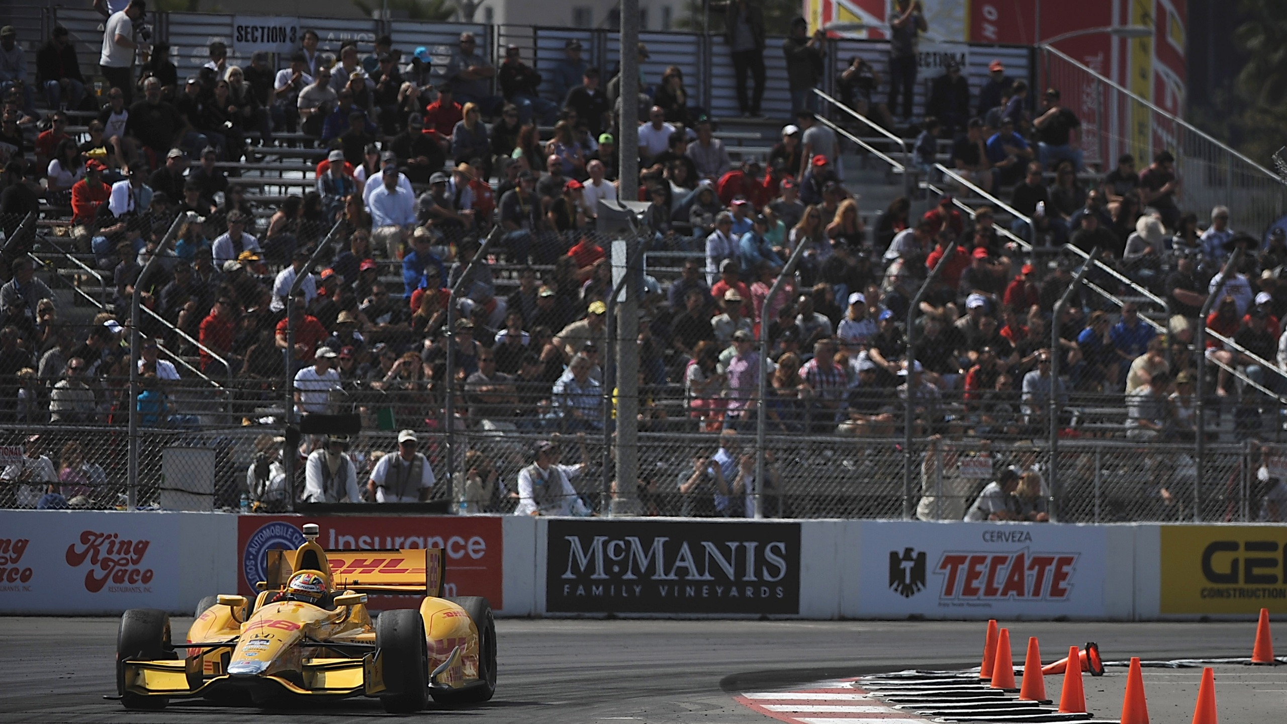 This April 13, 2014 file photo shows a crowd watching during the Verizon IndyCar Series Toyota Grand Prix of Long Beach. (Jonathan Moore/Getty Images)