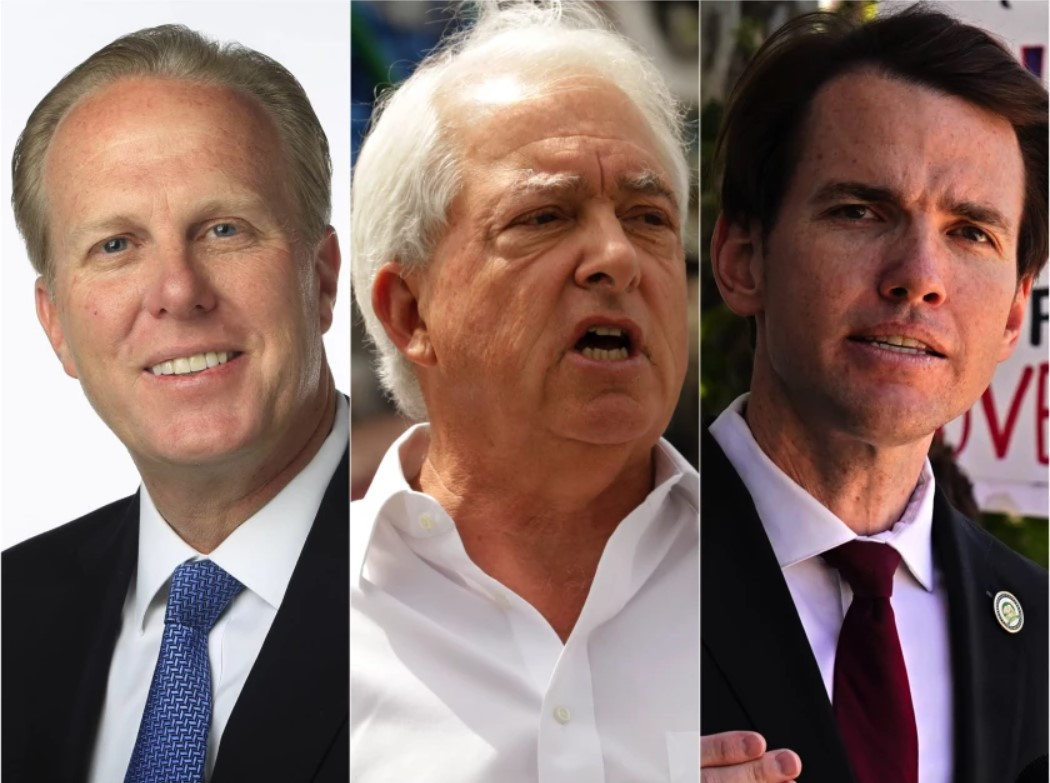 Kevin Faulconer, John Cox and Kevin Kiley participated in an Aug. 17, 2021, recall debate. (Los Angeles Times)