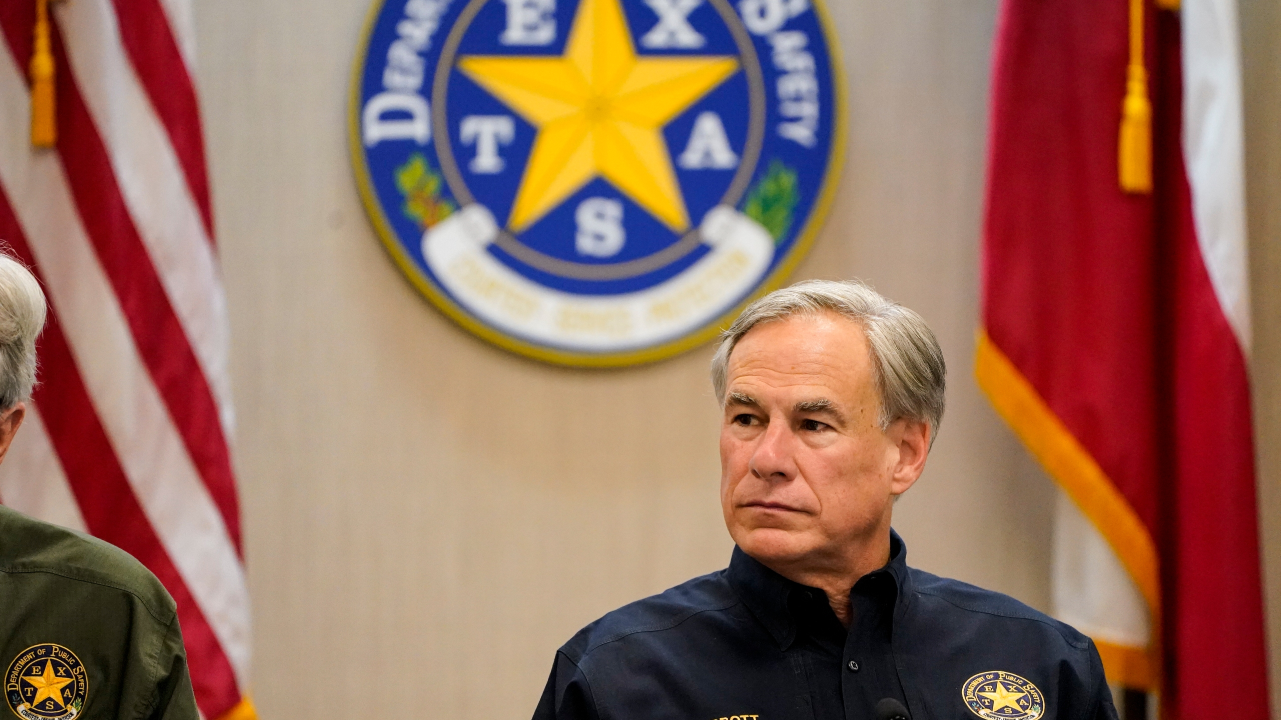 Texas Gov. Greg Abbott attends a security briefing at the Weslaco Department of Public Safety DPS Headquarters on Wednesday, June 30, 2021 in Weslaco, Texas. (Jabin Botsford/The Washington Post via AP, Pool)