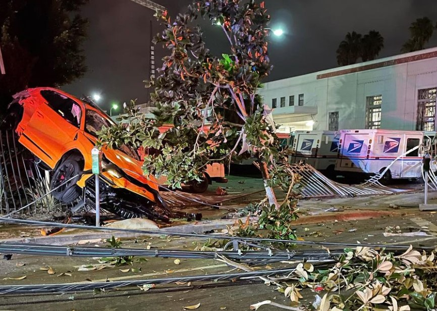 The LAPD's Hollywood Division documented a crashed Lamborghini caused by an alleged DUI on Aug. 21, 2021. (LAPD)