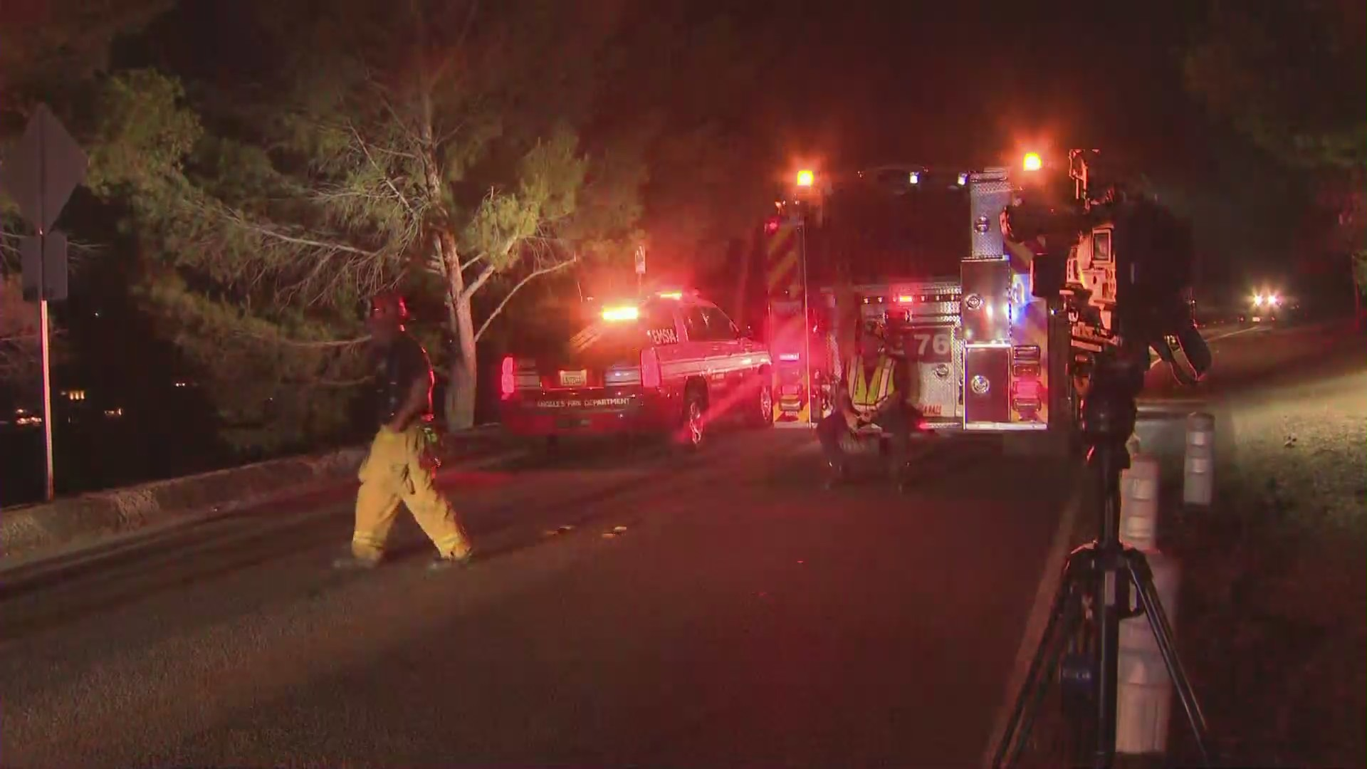 The LAFD responded to reports of five pedestrians hit by a car in the Hollywood Hills on Aug. 15, 2021. (KTLA)