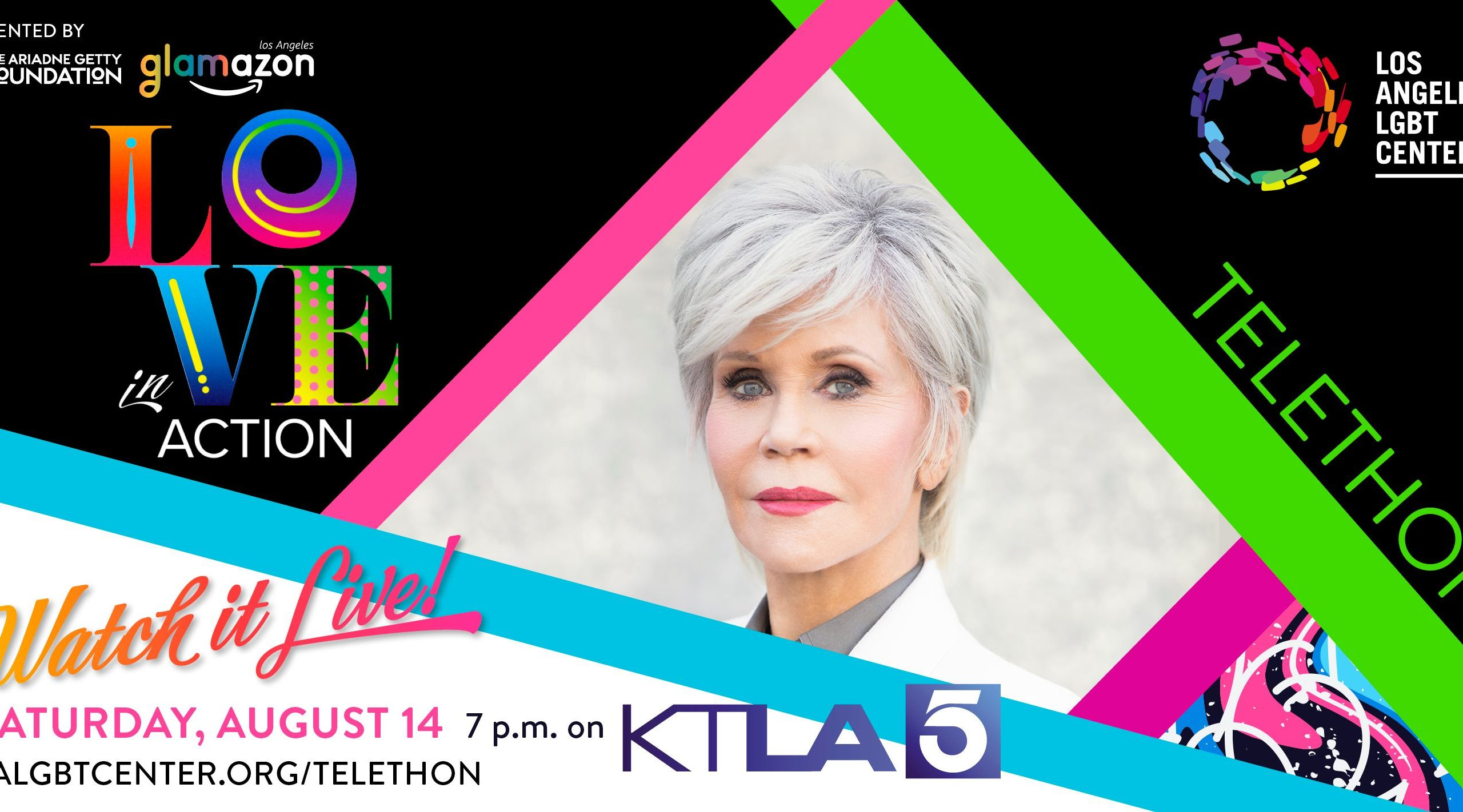 """Actress Jane Fonda in one of many celebrities slated to join the """"Love In Action"""" telethon airing Aug. 14 on KTLA Channel 5. (Los Angeles LGBT Center)"""