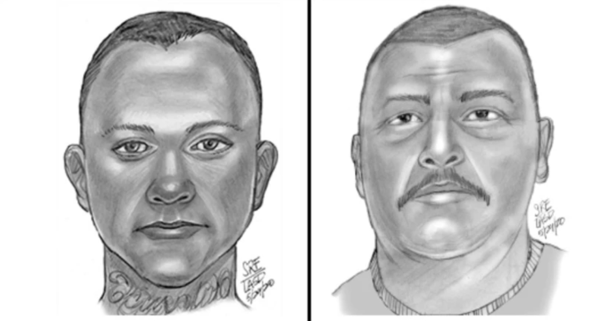 The Los Angeles County Sheriff's Department released these suspect sketches of the two men.
