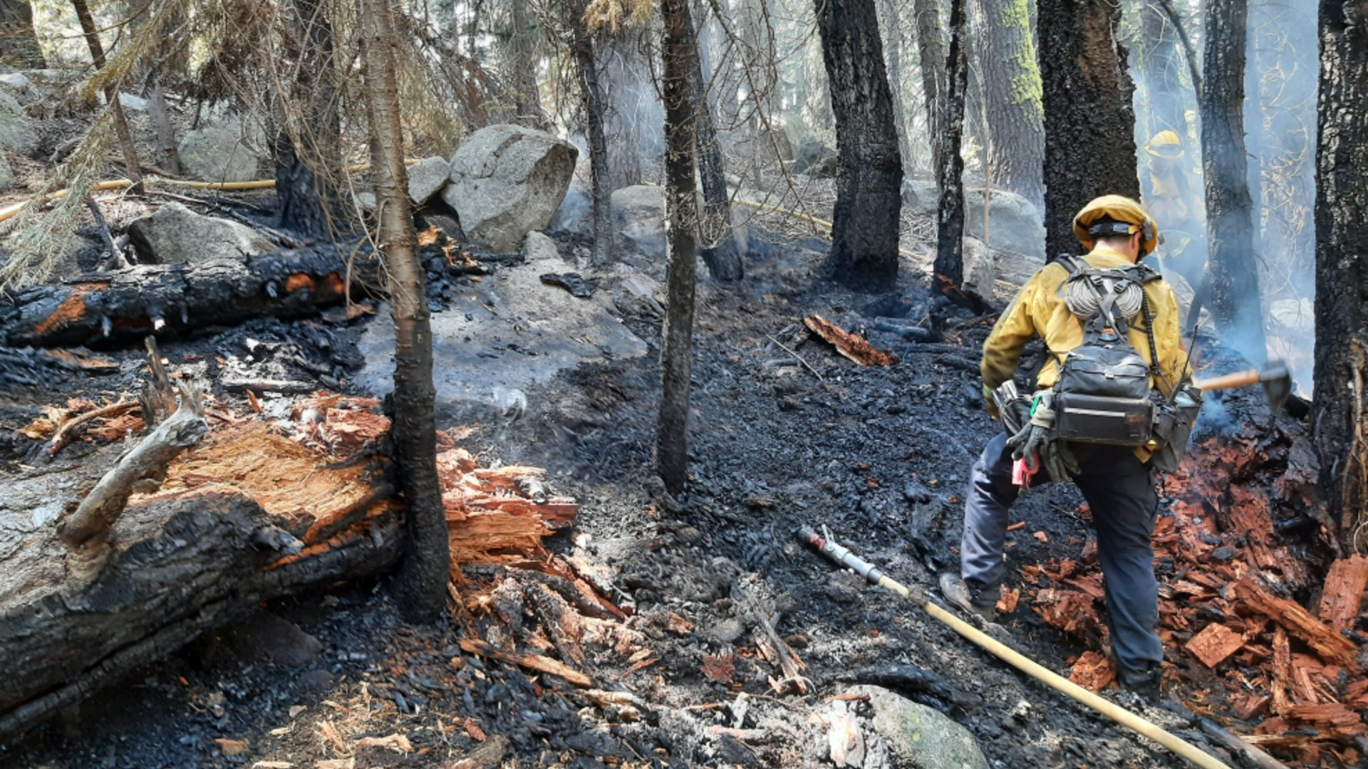 The El Dorado County Sheriff's Office released this photo of a firefighter putting out hot spots on a suspected arson fire near South Lake Tahoe.