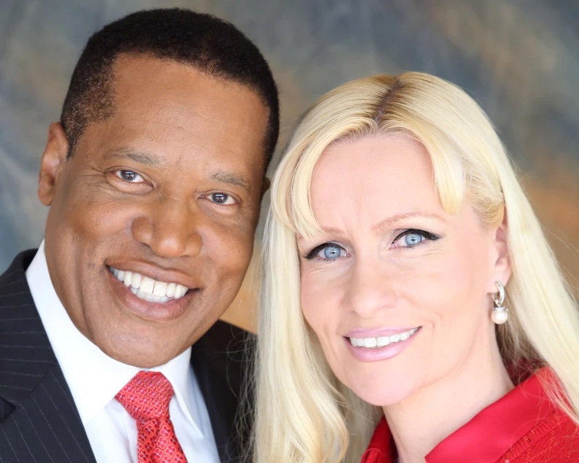Larry Elder and Alexandra Datig, his former fiancee. Datig filed a report with the LAPD alleging that Elder, the California recall front-runner, once pushed her and checked a gun during a 2015 argument.(Alexandra Datig)
