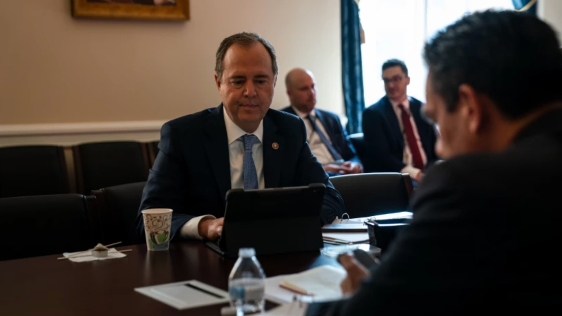 Rep. Adam B. Schiff (D-Burbank) and other House members.(Kent Nishimura / Los Angeles Times)