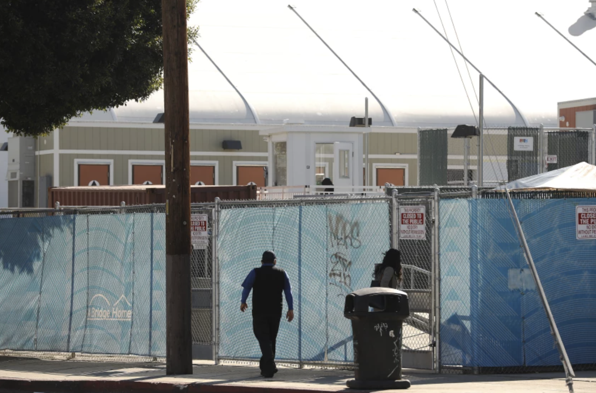 The A Bridge Home Shelter located at Main Street and Sunset Avenue in Venice.(Al Seib/Los Angeles Times)