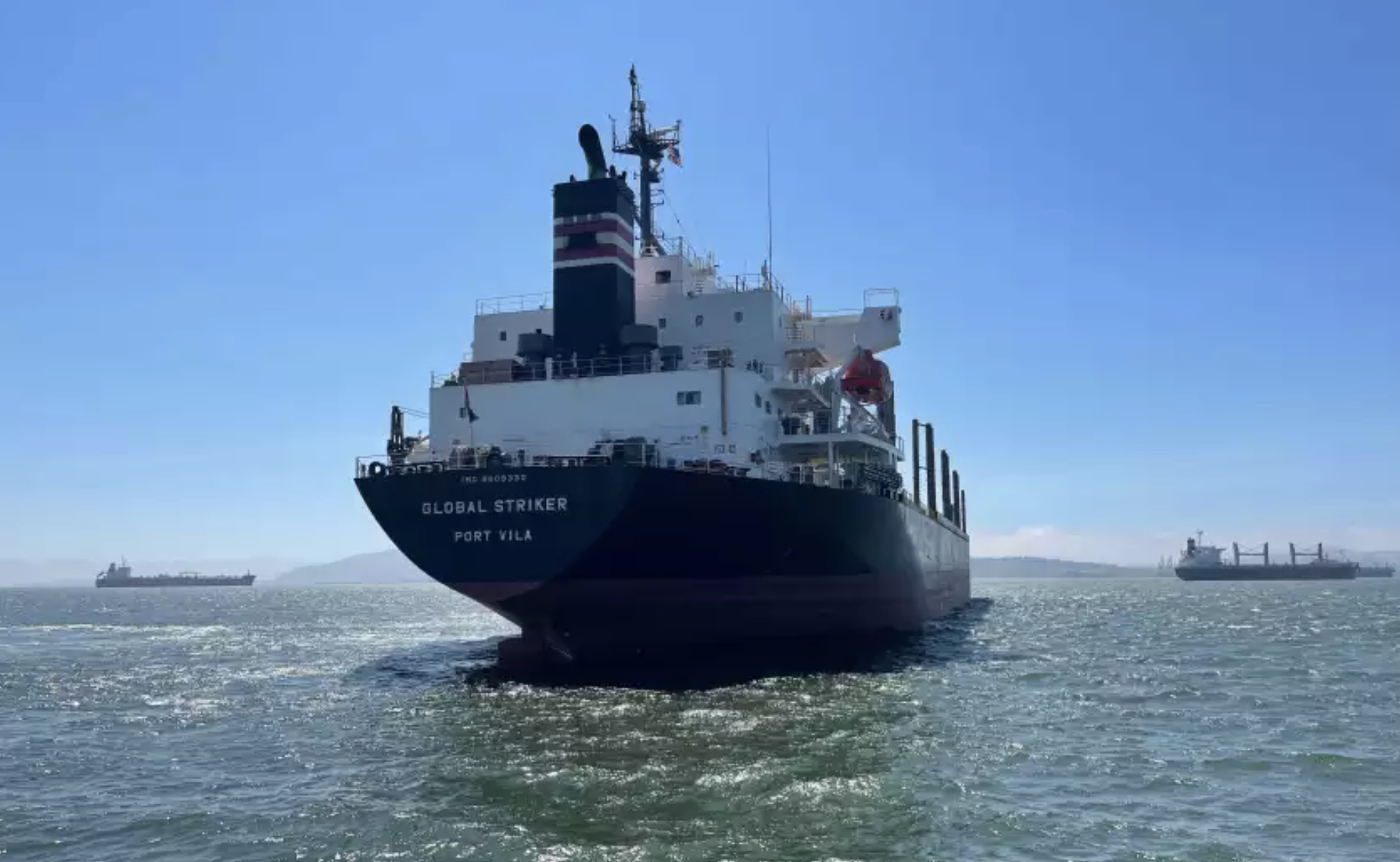 Six crew members of the Global Striker ship were transported to San Francisco hospitals to be treated for COVID-19.(San Francisco Fire Department via L.A. Times)