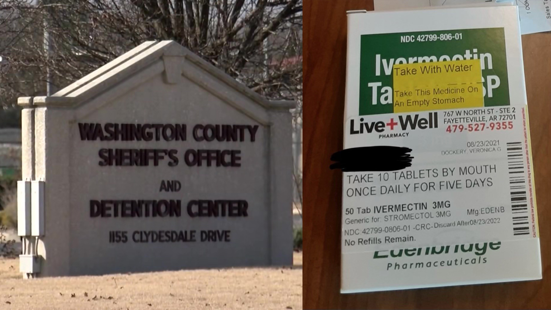The Washington County Jail and an ivermectin prescription are seen in these images. (KNWA/Courtesy Photo)