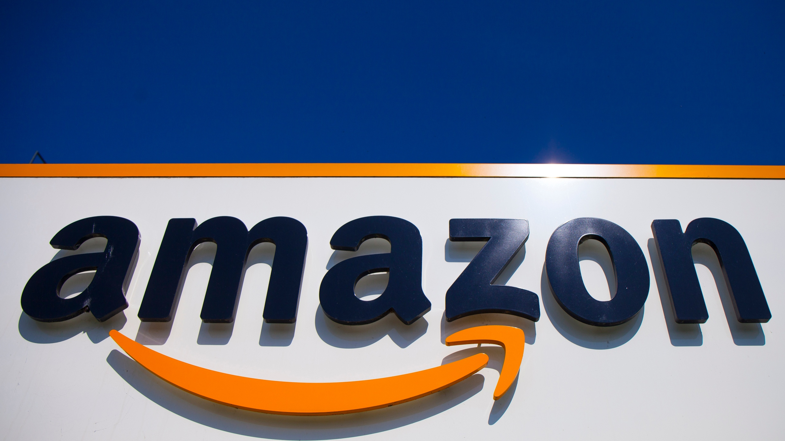 In this April 16, 2020, file photo, the Amazon logo is displayed in Douai, northern France. (AP Photo/Michel Spingler, File)