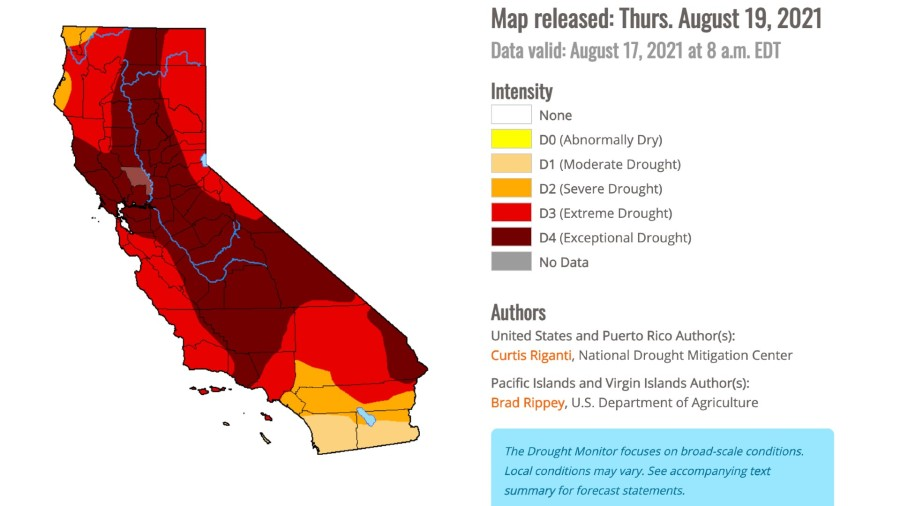 A map of California, showcasing the areas affected by drought conditions as of Aug. 17.(U.S. Drought Monitor Report)