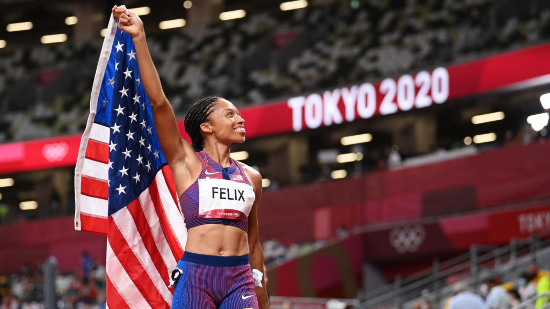 Allyson Felix of Team USA reacts after winning the bronze medal in the Women's 400m Final on day fourteen of the Tokyo 2020 Olympic Games at Olympic Stadium on August 06, 2021 in Tokyo, Japan. (Matthias Hangst/Getty Images)
