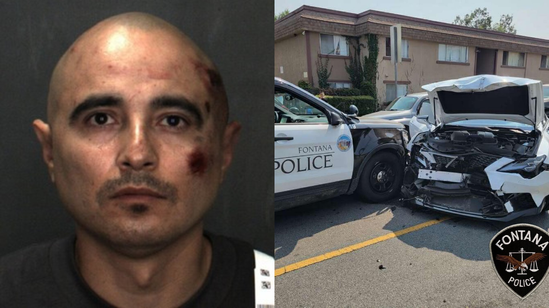 Fontana police released this photo of Juan Guzman, left, and the crash scene, right.