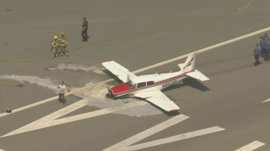 Small plane with 2 aboard lands upside-down at Fullerton airport: Police
