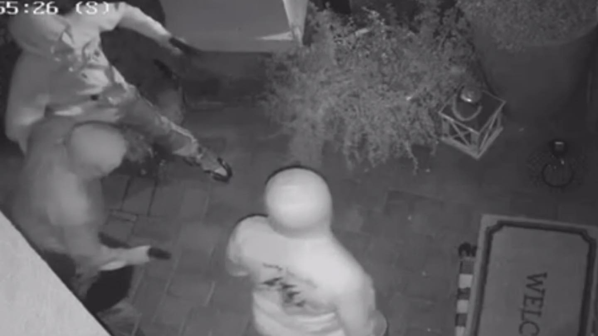 Surveillance video of a home invasion attempt was shared by the Fontana Police Department on Aug. 19, 2021.