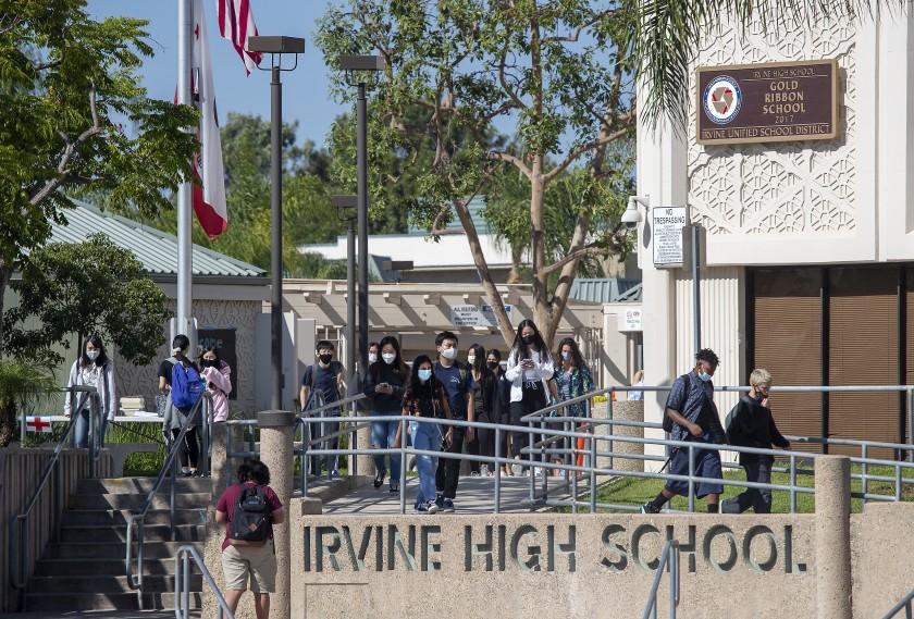 Irvine High School students on campus in this undated photo. (Allen J. Schaben/Los Angeles Times)