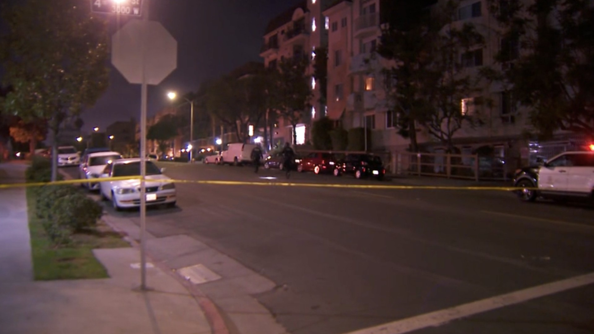Police investigate a stabbing and possible carjacking in the Koreatown area on Aug. 10, 2021. (KTLA)