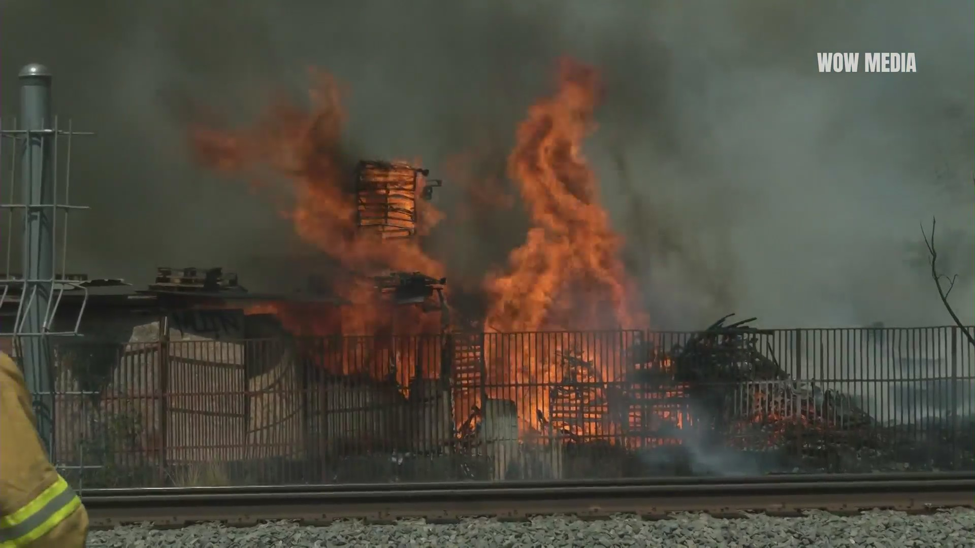 An arson investigation is underway after LAFD extinguished a pallet fire on Sunday, Aug. 2, 2021 in Pacoima. (Wow Media)